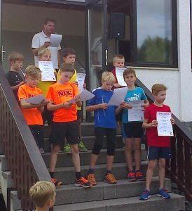 Siegerehrung in der M10 - mit Moritz auf Platz 3